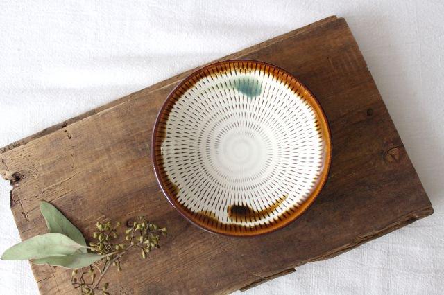4寸皿 トビカンナ 飴縁内掛 陶器 小石原焼