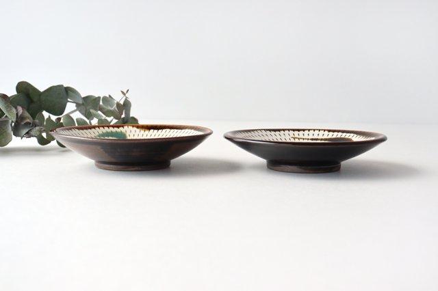 4寸皿 トビカンナ 飴縁内掛 陶器 小石原焼 画像2