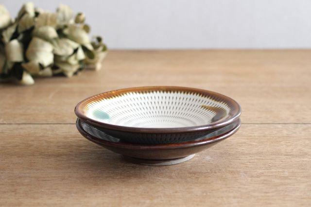 4寸皿 トビカンナ 飴縁内掛 陶器 小石原焼 画像6