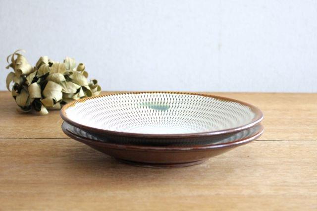 8寸皿 トビカンナ 飴縁内掛 陶器 小石原焼 画像2