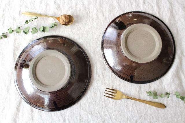 8寸皿 トビカンナ 飴縁内掛 陶器 小石原焼 画像3