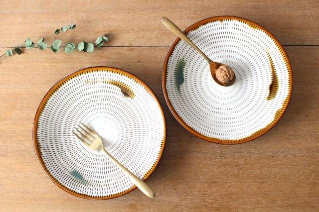 8寸皿 トビカンナ 飴縁内掛 陶器 小石原焼 画像4