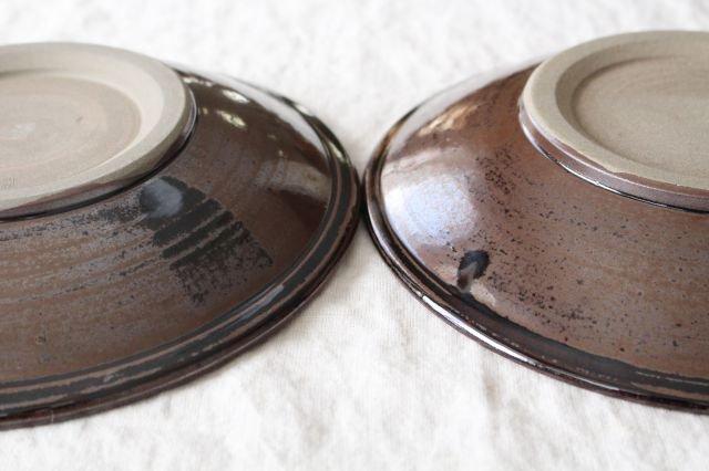 8寸皿 トビカンナ 飴縁内掛 陶器 小石原焼 画像6