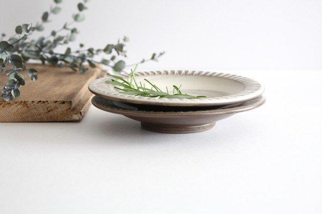 リム付ミニパン皿 ハケメ 陶器 小石原焼 画像2