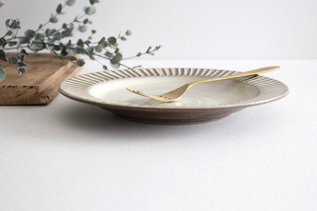 リム付平皿 ハケメ 陶器 小石原焼 画像2
