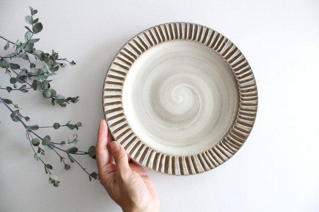 リム付平皿 ハケメ 陶器 小石原焼 画像6