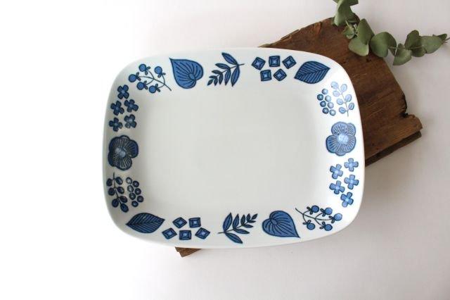 波佐見焼 Wreath On The Table レクタングルプレート ブルー 磁器