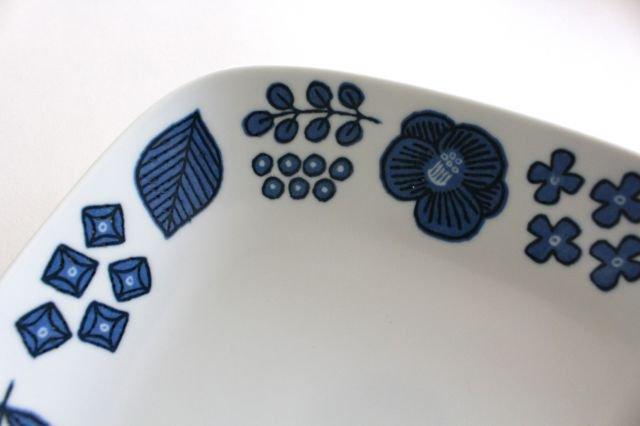 波佐見焼 Wreath On The Table レクタングルプレート ブルー 磁器 画像2