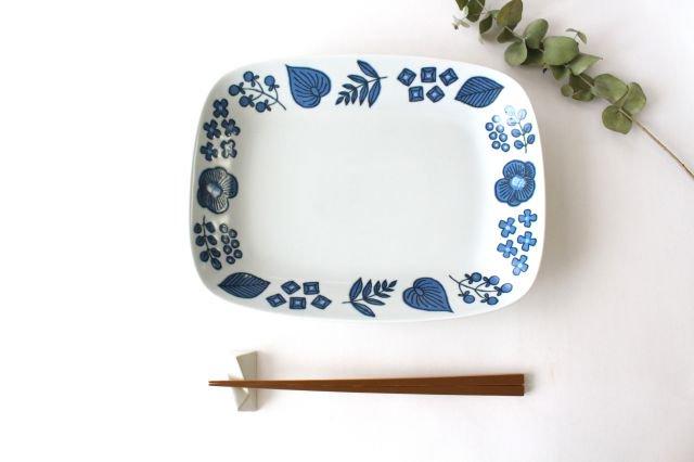 波佐見焼 Wreath On The Table レクタングルプレート ブルー 磁器 画像4
