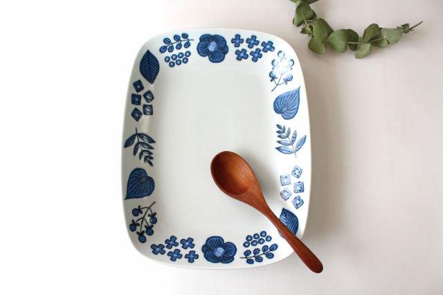 波佐見焼 Wreath On The Table レクタングルプレート ブルー 磁器 画像6