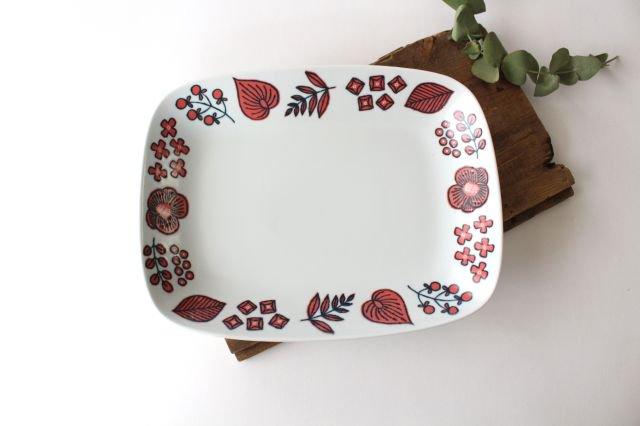 波佐見焼 Wreath On The Table レクタングルプレート レッド 磁器