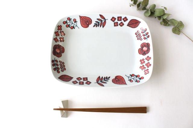波佐見焼 Wreath On The Table レクタングルプレート レッド 磁器 画像4