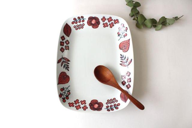 波佐見焼 Wreath On The Table レクタングルプレート レッド 磁器 画像6