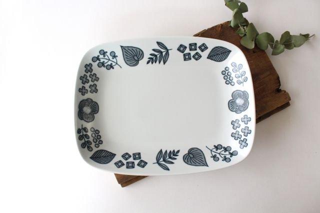 波佐見焼 Wreath On The Table レクタングルプレート グレー 磁器