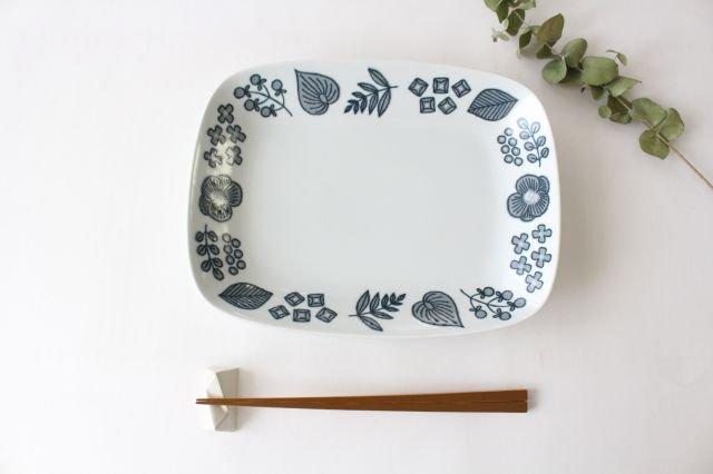 波佐見焼 Wreath On The Table レクタングルプレート グレー 磁器 画像4