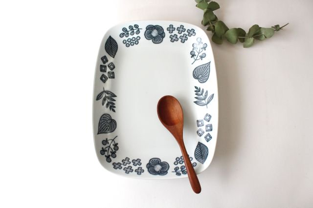 波佐見焼 Wreath On The Table レクタングルプレート グレー 磁器 画像5