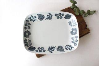 波佐見焼 Wreath On The Table レクタングルプレート グレー 磁器商品画像