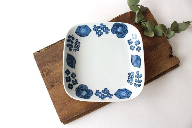 波佐見焼 Wreath On The Table スクエアプレート ブルー 磁器