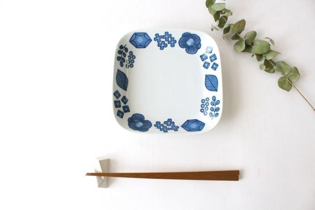 波佐見焼 Wreath On The Table スクエアプレート ブルー 磁器 画像4