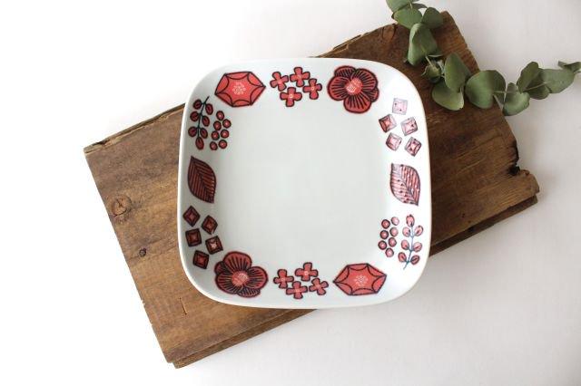 波佐見焼 Wreath On The Table スクエアプレート レッド 磁器