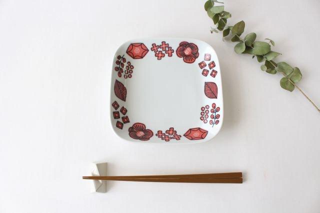 波佐見焼 Wreath On The Table スクエアプレート レッド 磁器 画像4