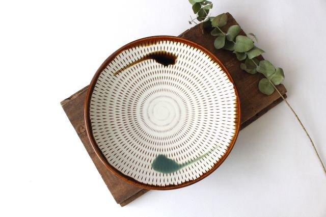 7寸皿 トビカンナ 飴縁内掛 陶器 小石原焼