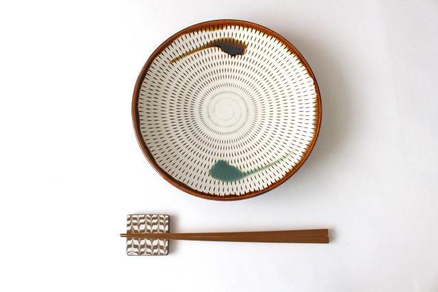 7寸皿 トビカンナ 飴縁内掛 陶器 小石原焼 画像4