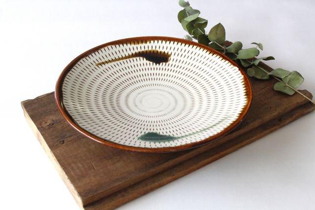 7寸皿 トビカンナ 飴縁内掛 陶器 小石原焼 画像6