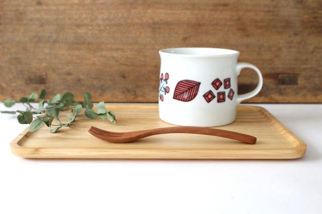 波佐見焼 Wreath On The Table マグカップ レッド 磁器 画像2