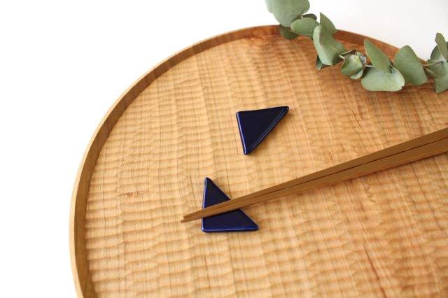 三角はしおき 瑠璃 陶器 momone