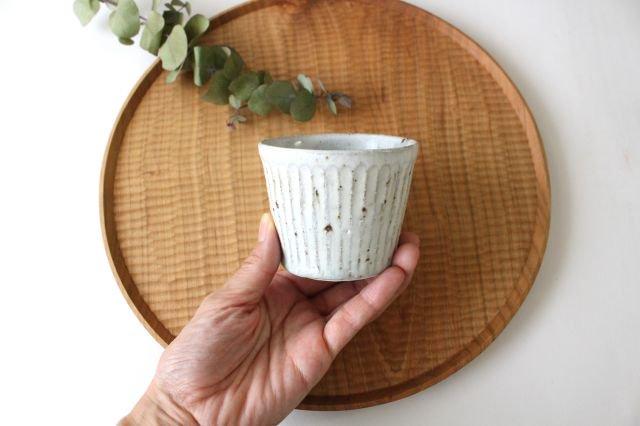 しのぎカップ 粉引 陶器 伊藤豊 画像2