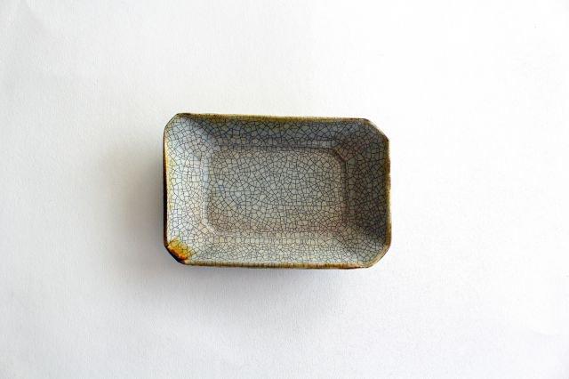 長角皿 墨入貫入 小 陶器 はなクラフト