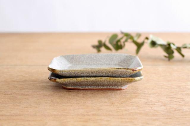 長角皿 墨入貫入 小 陶器 はなクラフト 画像3