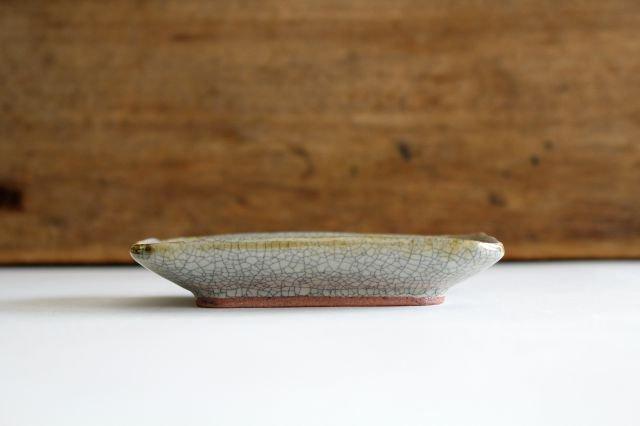 長角皿 墨入貫入 小 陶器 はなクラフト 画像4