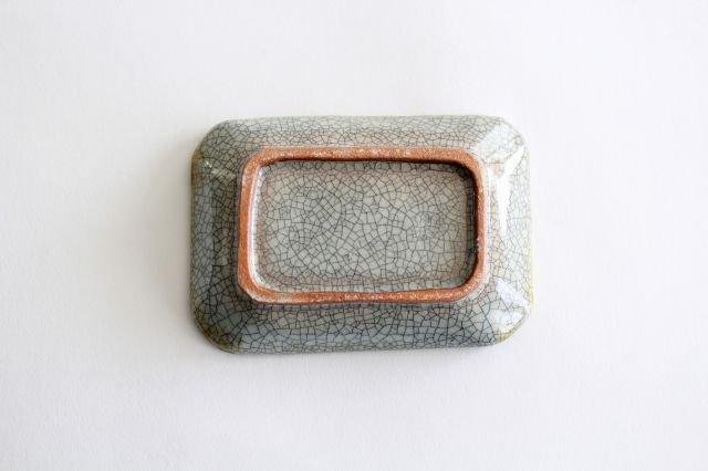 長角皿 墨入貫入 小 陶器 はなクラフト 画像5