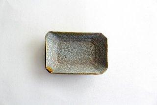 長角皿 墨入貫入 小 陶器 はなクラフト商品画像