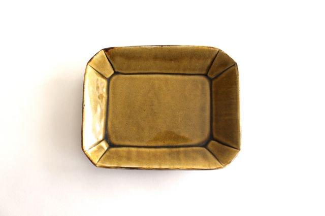 長角皿 飴釉 大 陶器 はなクラフト