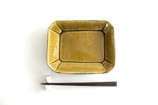 長角皿 飴釉 大 陶器 はなクラフト 画像4