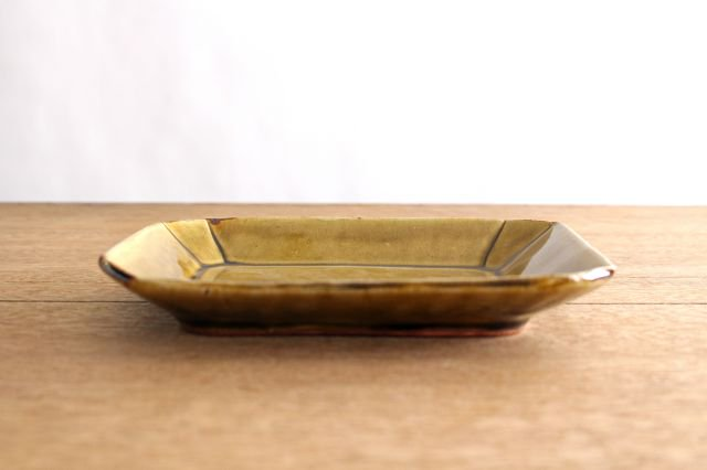 長角皿 飴釉 大 陶器 はなクラフト 画像5