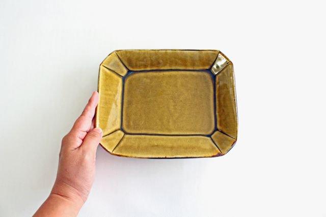 長角皿 飴釉 大 陶器 はなクラフト 画像6