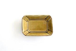 長角皿 飴釉 小 陶器 はなクラフト商品画像