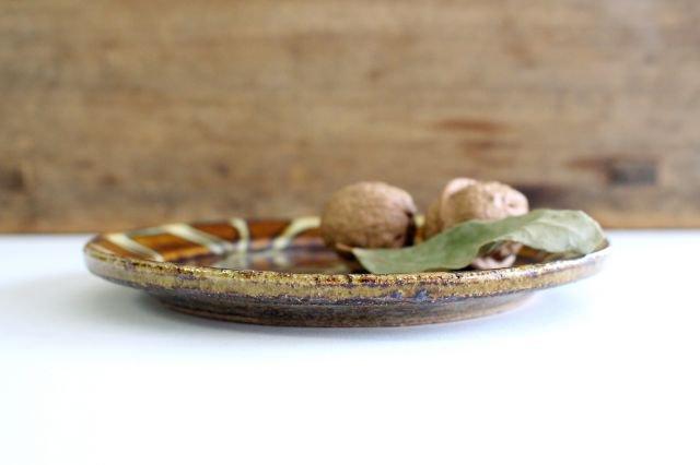 リム丸皿 中 二重格子 飴 陶器 紀窯 画像2