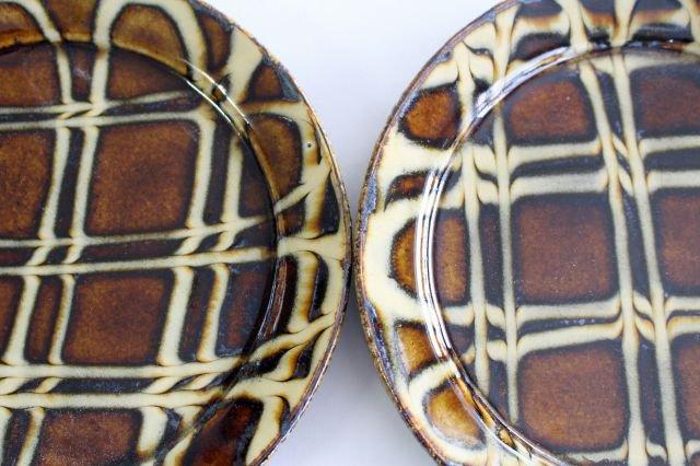 リム丸皿 中 二重格子 飴 陶器 紀窯 画像3