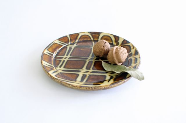 リム丸皿 中 二重格子 飴 陶器 紀窯 画像4