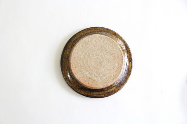 リム丸皿 中 二重格子 飴 陶器 紀窯 画像6