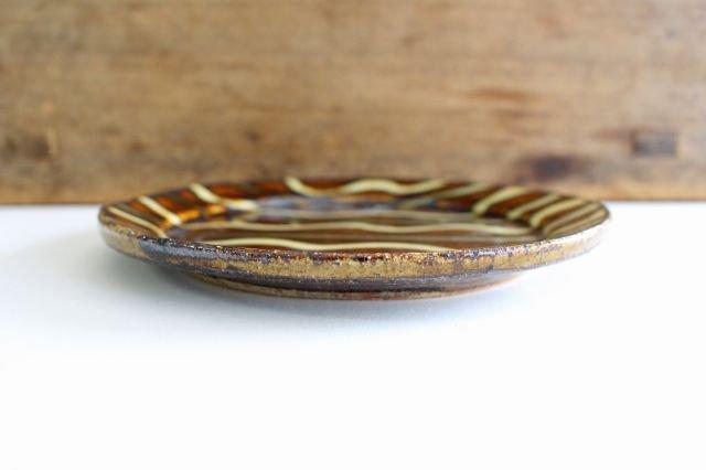 リム丸皿 中 波線棒線 飴 陶器 紀窯 画像2