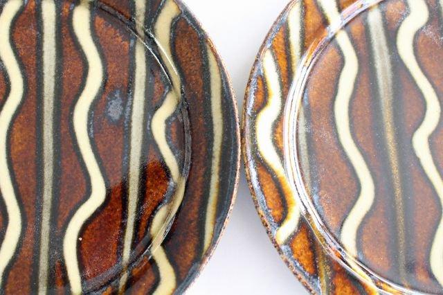 リム丸皿 中 波線棒線 飴 陶器 紀窯 画像3