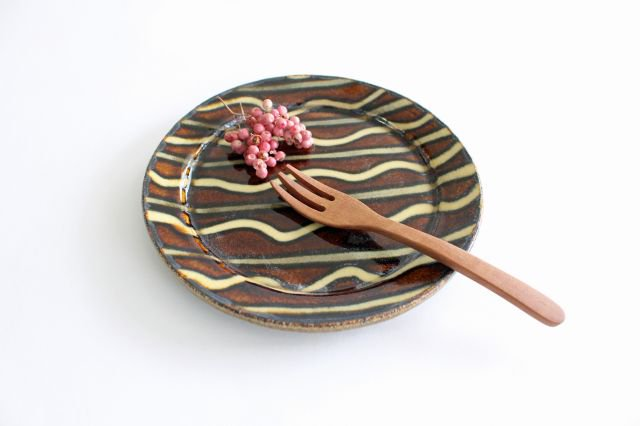 リム丸皿 中 波線棒線 飴 陶器 紀窯 画像6
