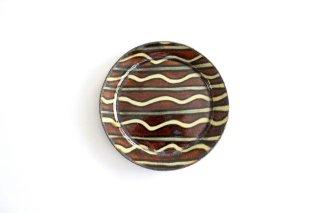 リム丸皿 中 波線棒線 飴 陶器 紀窯商品画像