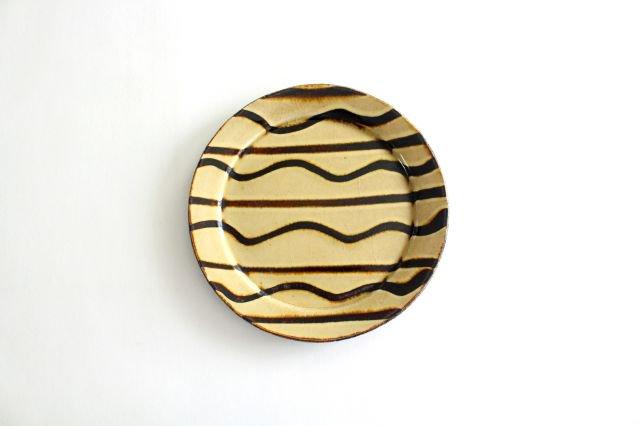 リム丸皿 中 波線棒線 クリーム 陶器 紀窯